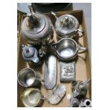 Lot, silverplate teapots, mugs, cream and