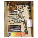 Lot, nut picks, tea strainers, candle scissors,