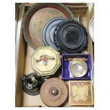Lot, oriental bell, boxes, pedestal, brass, misc