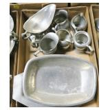 Lot, pewter, cream and sugar, trays, gravy boats