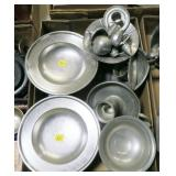 Lot, pewter compotes, candle holders, salt and