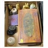 Lot, oriental figurines, mini ginger jar, lift top
