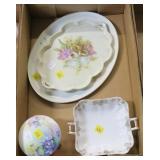 Lot, porcelain dresser trays (2), Nippon bowl