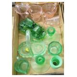 Lot, pink and green depression glass