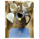 Lot, 3 mugs, Royal Haeger pitcher, Royal