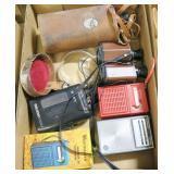 Lot, radios, binoculars, monocular