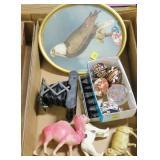 Lot, celluloid figures, souvenir demitasse spoon,