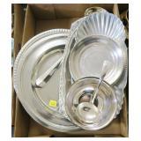 Lot, silverplate trays, bowls