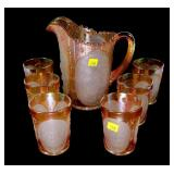 Set Imperial windmill Carnival glass pitcher and