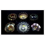 Lot, 6 Carnival glass bowls: 2-Wild Rose; Aqua