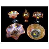 Lot, 5 pieces Marigold Carnival glass: iris bowl,