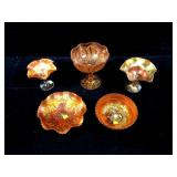 Lot, 5 pieces Marigold Carnival glass: Fenton