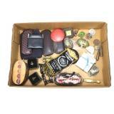 Lot, eyeglasses, clock, jewelry, Cloisonne eggs,