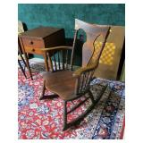 Rocking chair with spindles and arms