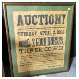 Framed auction sign, April 2, 1895, Tunis