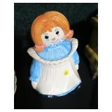 """Raggedy Ann cookie jar, 11"""" H"""