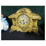 "Mantel clock with pendulum, no key, 12"" H x 14"" W"