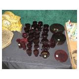 Large collection ruby red glassware: plates, cup,