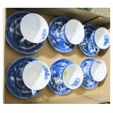 Lot, six cups and saucers, Willow pattern