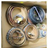 Lot, leather belts, plus metal belt buckles