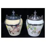 2- Biscuit jars with bails and covers