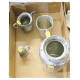 Lot, beaded metal vase, pewter sugar, salt, cup
