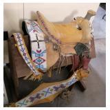 Abenaki Indian saddle with large amount of