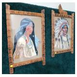 "Lot, 2 Indian chief and girl artwork, 20"" x 14"""