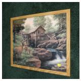 James E. Seward deer and mill scene print,
