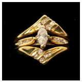 14K Yellow gold triple band marquise cut