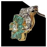 14K Yellow gold emerald and diamond flower pendant