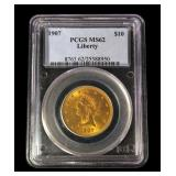 1907 $10 Gold Liberty Eagle, PCGS slab certified