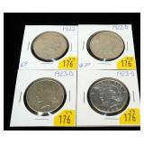 4- Peace dollars: 1922, 1922-D, 1923-D, 1923-S