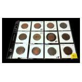 12- U.S. large cents 1825-1853