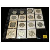 15- Franklin half dollars, 90% silver: 1951-1963