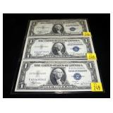 3- $1 Silver certificate, series of 1935A and