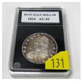 1824 U.S. Capped Bust half dollar, AU-52