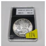 1882-S Morgan dollar, MS-62