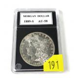 1889-S Morgan dollar, AU-58, good date