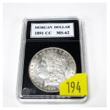 1891-CC Morgan dollar, MS-62