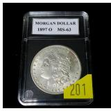 1897-O Morgan dollar, MS-63, high grade