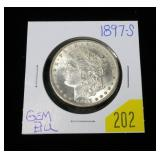 1897-S Morgan dollar, gem BU