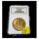 1908 $20 Gold Sait-Gaudens Double Eagle, NGC slab