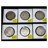 6- Collection of Peace dollars: 1922, 1922-D,