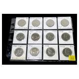 12- Kennedy non-silver half dollars 1972-1976