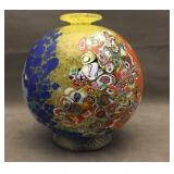 Singed multi colored Murano vase