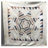 1840s star quilt with provenance stitched in