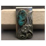 Vintage floral design money clip with turquoise