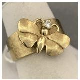 14K yellow gold and diamond butterfly ring