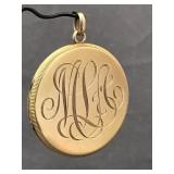 14K yellow gold antique locket with seed pearl